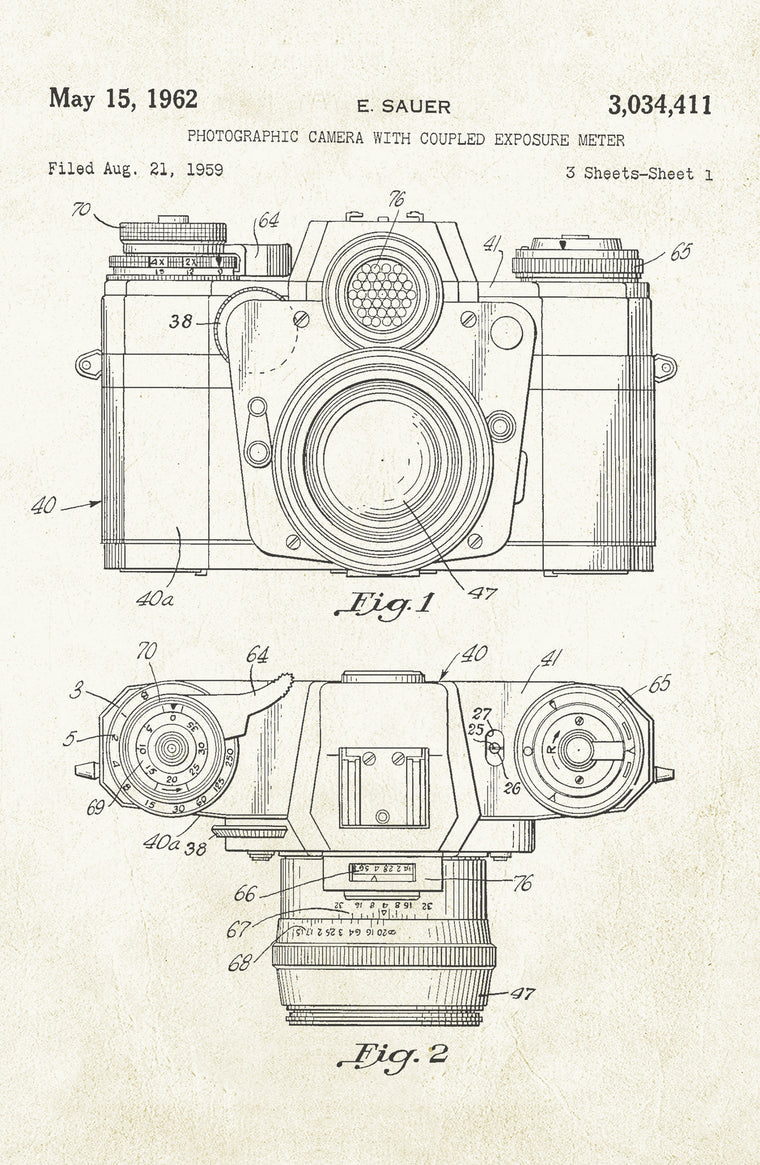 Camera With Exposure on Aged Paper Poster
