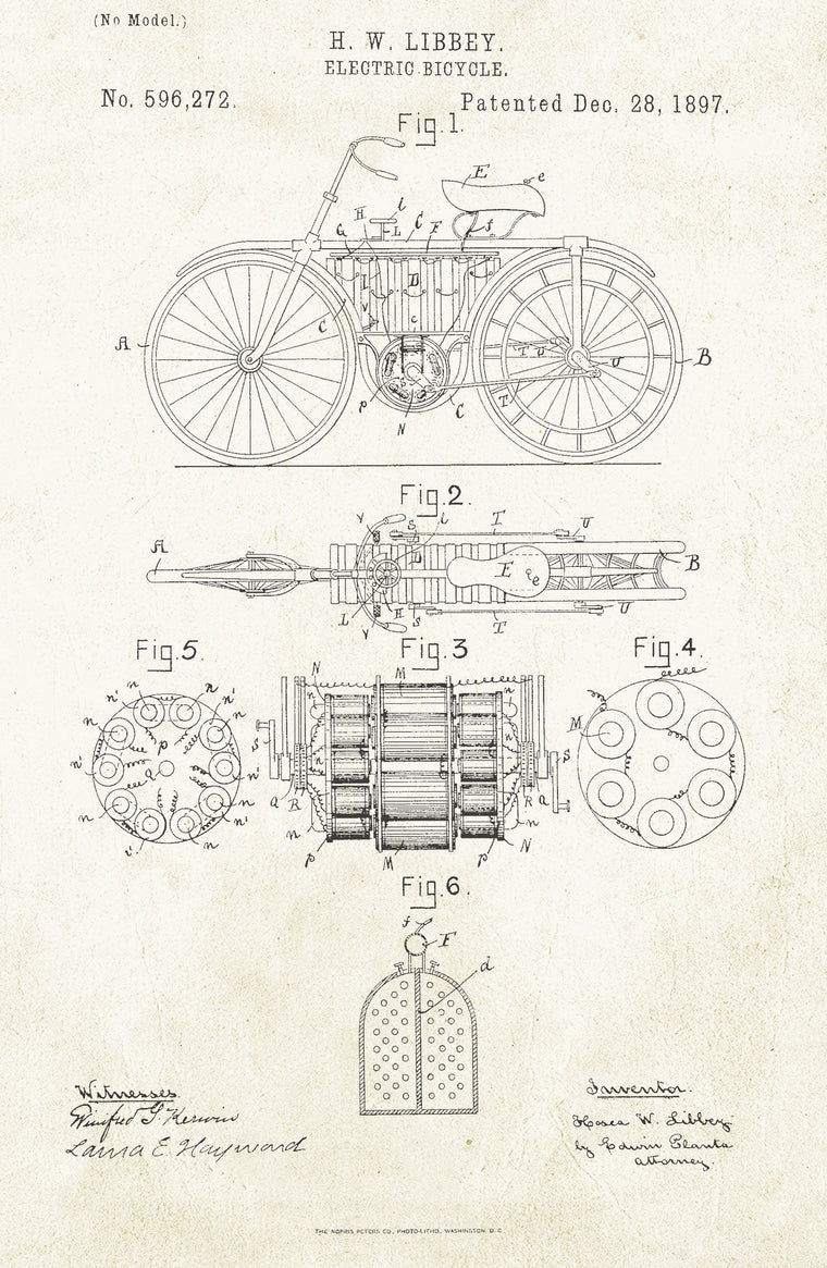 Electric Bicycle on Aged Paper Poster