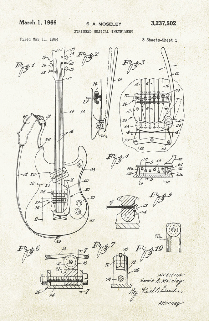 Guitar on Aged Paper Poster