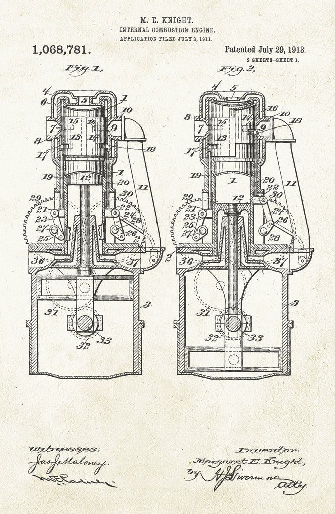 Internal Combustion Engine 2 on Aged Paper Poster
