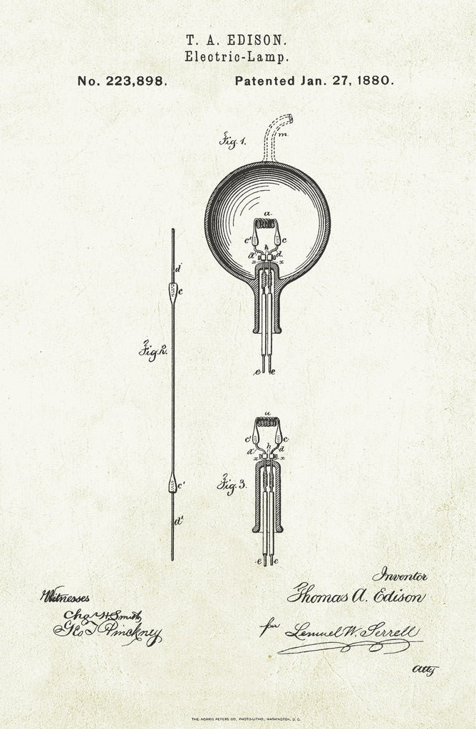 Light Bulb on Aged Paper Poster