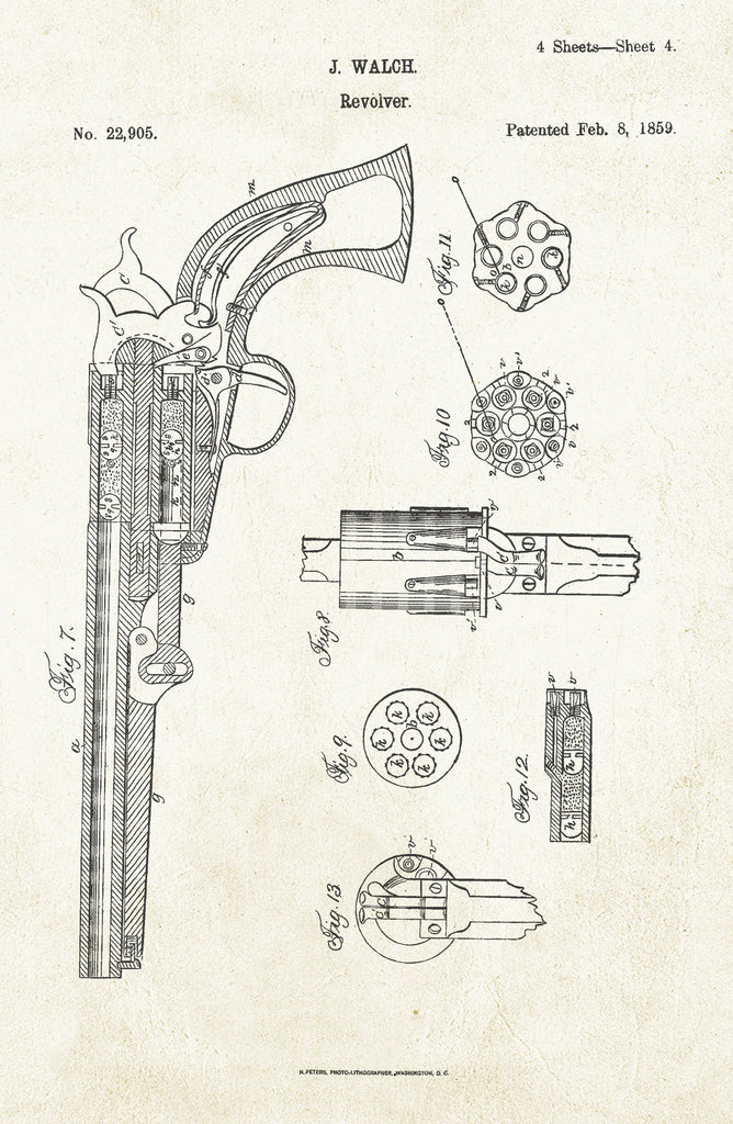 Revolver on Aged Paper Poster
