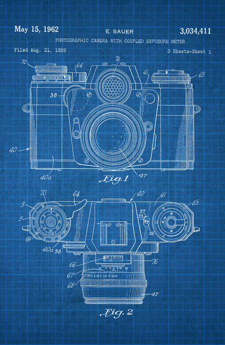 Camera With Exposure on White on Blue Graph Poster