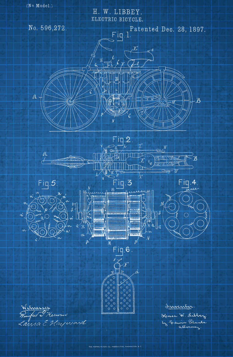 Electric Bicycle on White on Blue Graph Poster