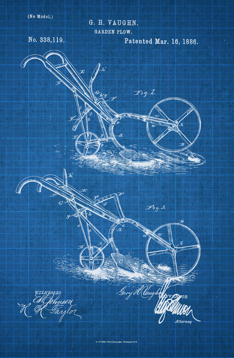 Garden Plow on White on Blue Graph Poster