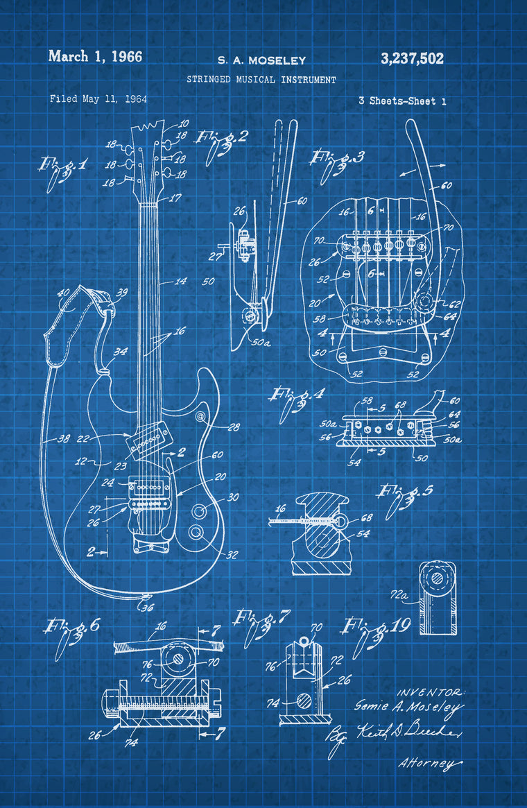 Guitar on White on Blue Graph Poster