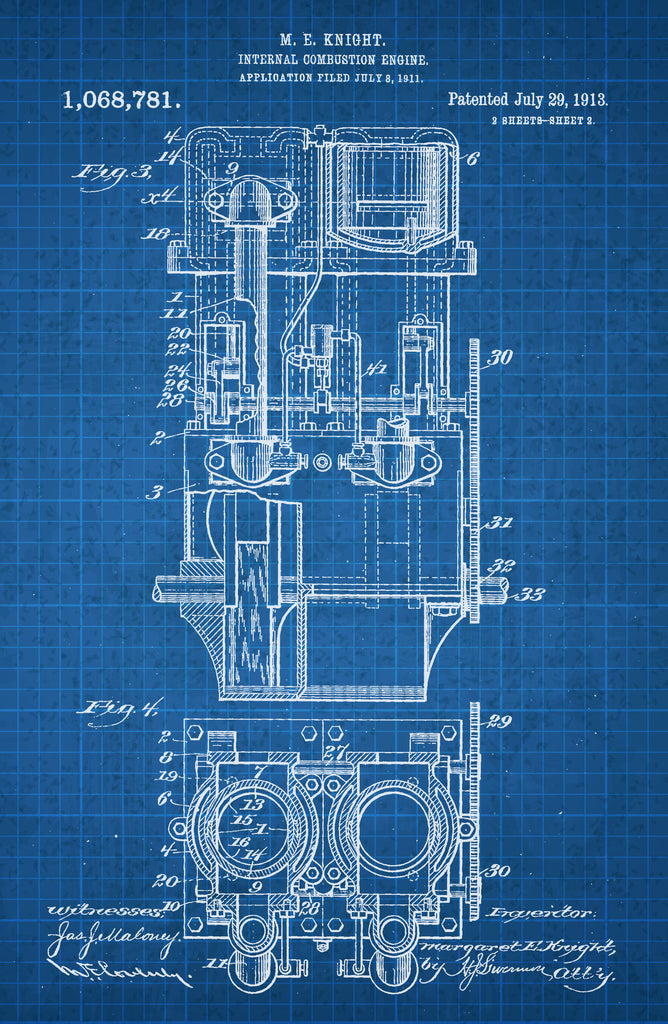 Internal Combustion Engine 1 on White on Blue Graph Poster