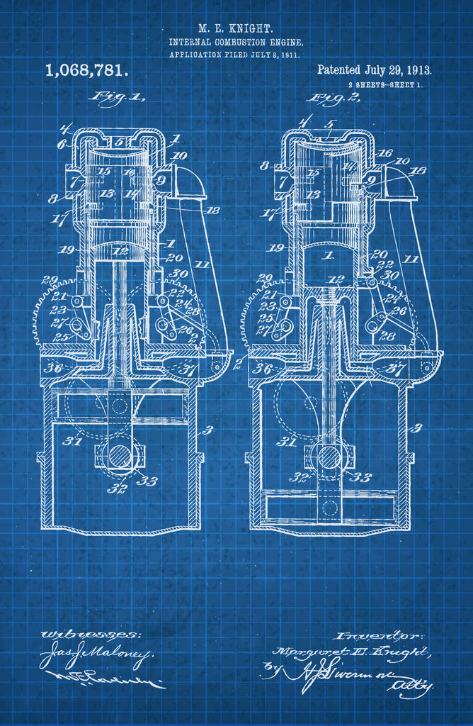 Internal Combustion Engine 2 on White on Blue Graph Poster
