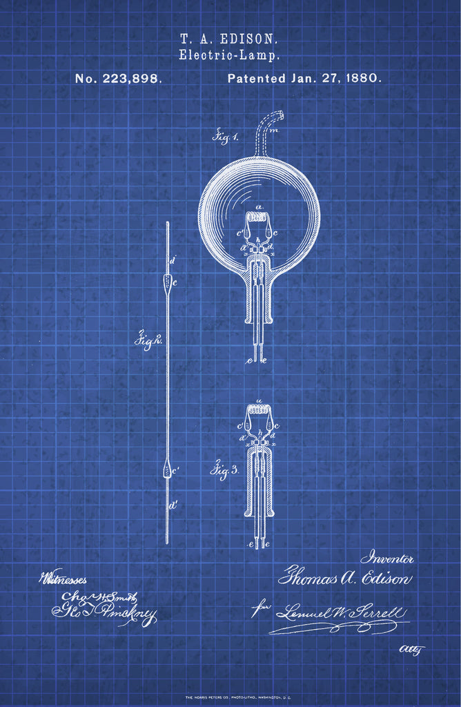 Light Bulb on White on Blue Graph Poster