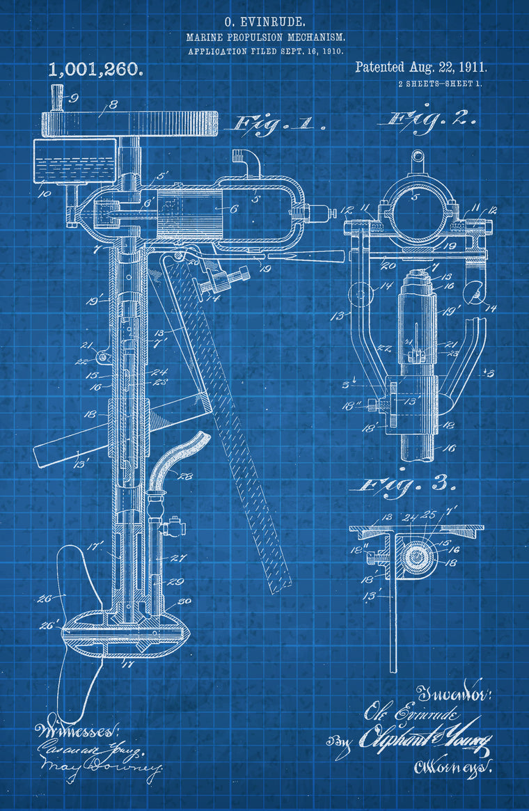Marine Propulsion on White on Blue Graph Poster