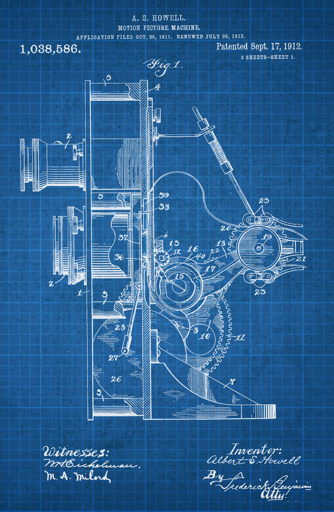 Motion Picture Machine 1 on White on Blue Graph Poster