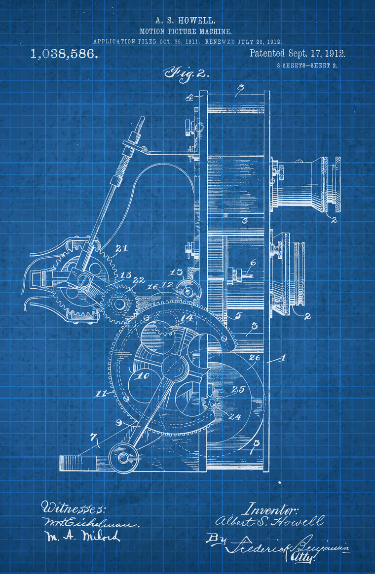 Motion Picture Machine 2 on White on Blue Graph Poster