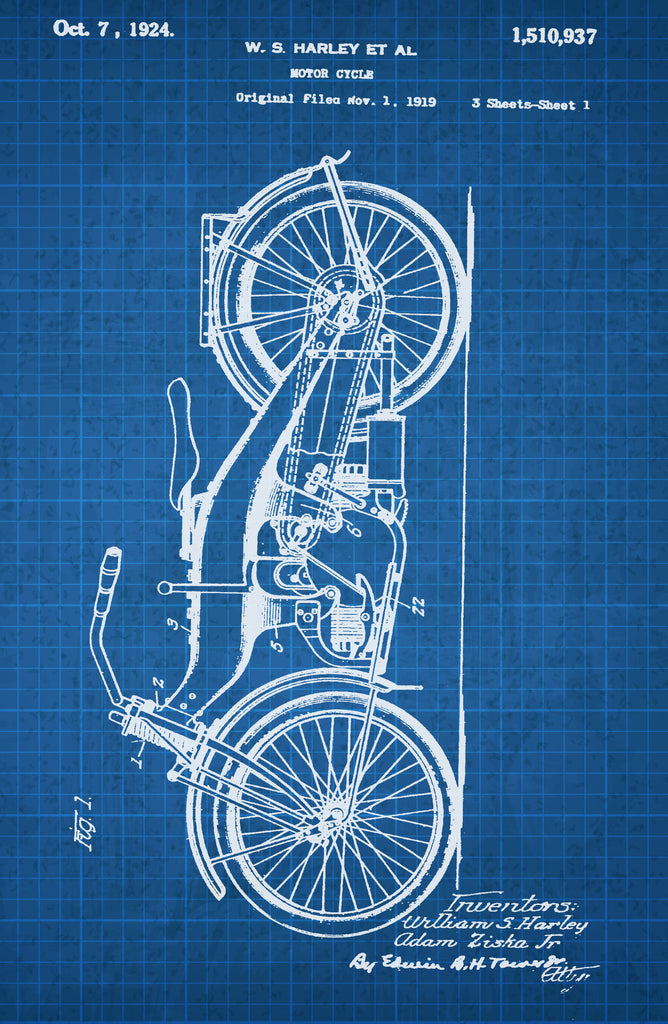 Motor Cycle on White on Blue Graph Poster