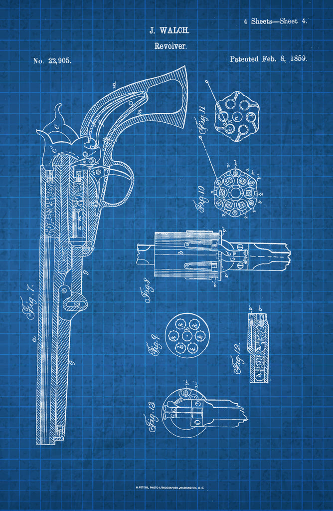 Revolver on White on Blue Graph Poster