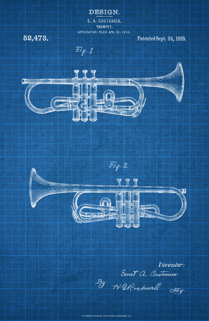 Trumpet on White on Blue Graph Poster