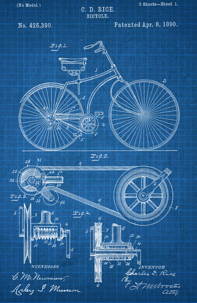 Bicycle on White on Blue Graph Poster