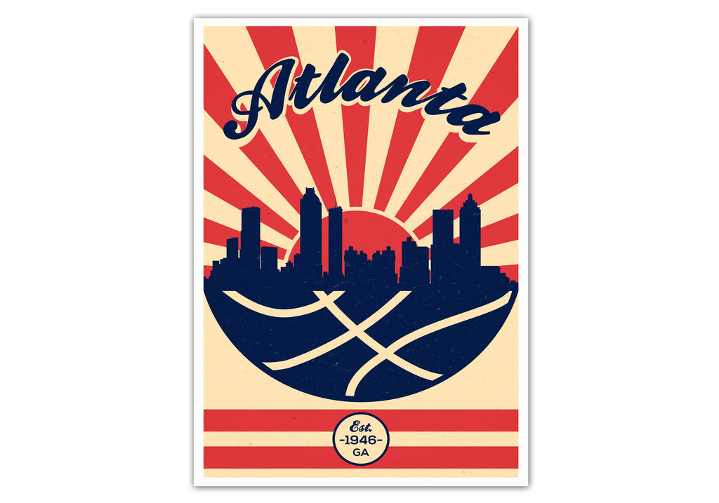 Atlanta Vintage Basketball Poster