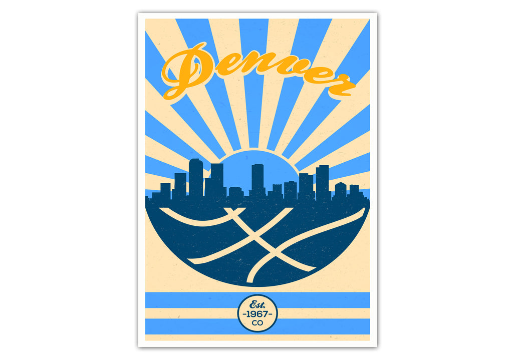 Denver Vintage Basketball Poster