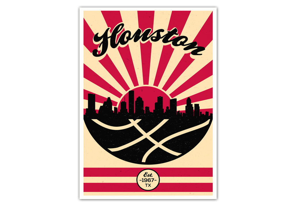 Houston Vintage Basketball Poster