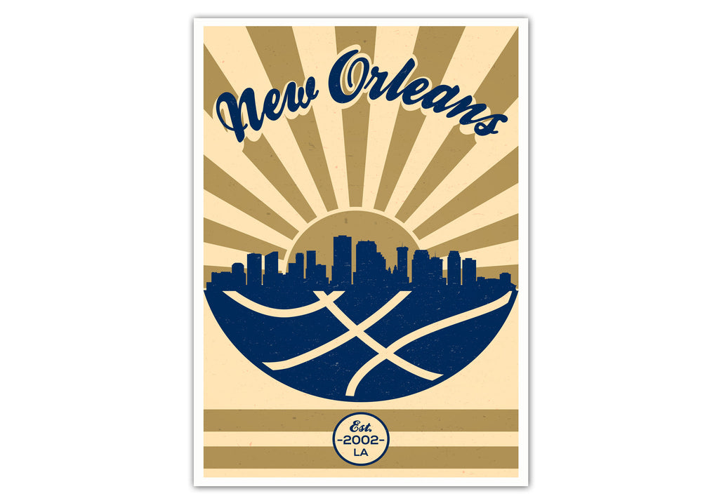 New Orleans Vintage Basketball Poster