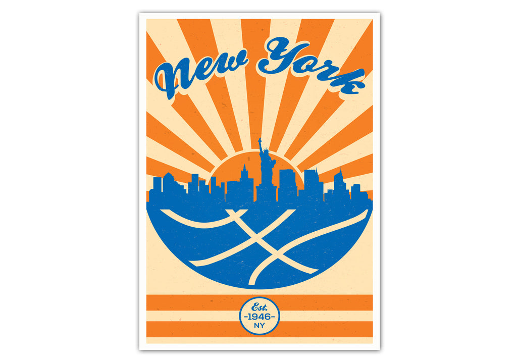 New York Vintage Basketball Poster