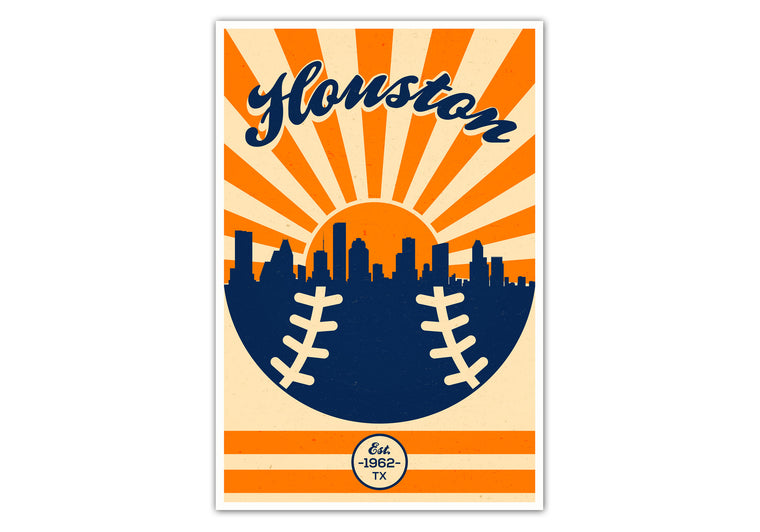 Houston - Vintage Baseball - Matte Poster Print Wall Art