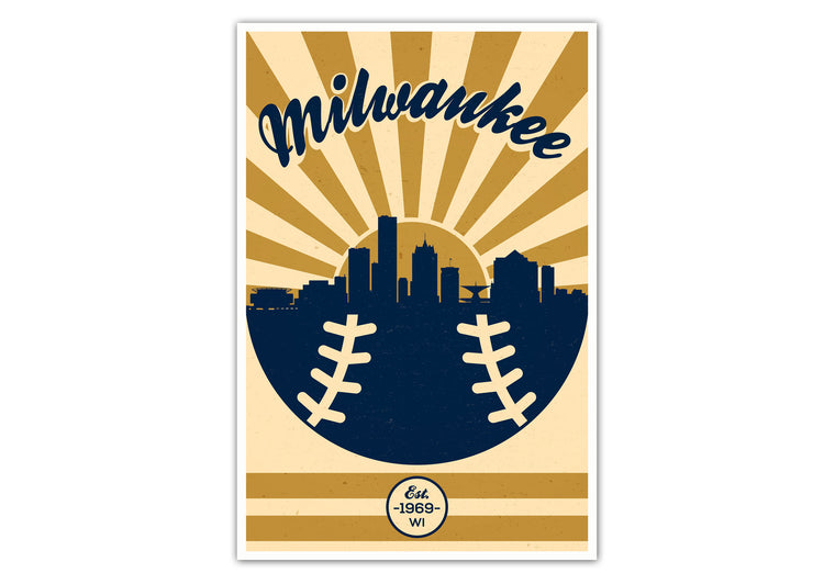 Milwaukee - Vintage Baseball - Matte Poster Print Wall Art