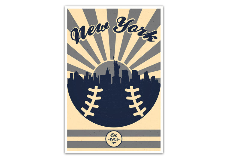 New York - Vintage Baseball - Matte Poster Print Wall Art