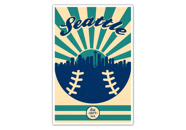 Seattle - Vintage Baseball - Matte Poster Print Wall Art