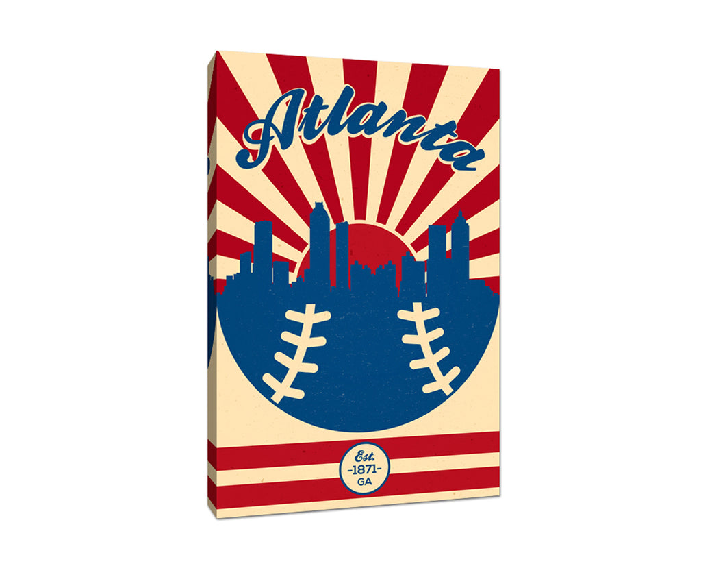 Atlanta - Vintage Baseball - Canvas Wall Art