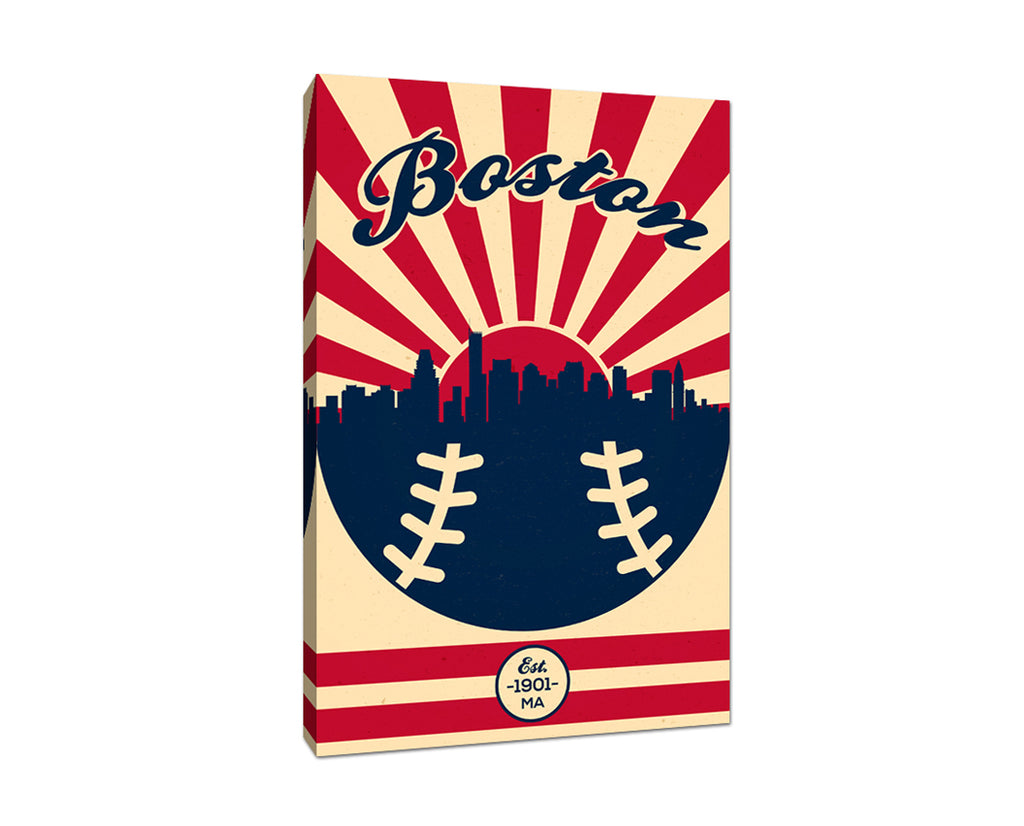 Boston - Vintage Baseball - Canvas Wall Art