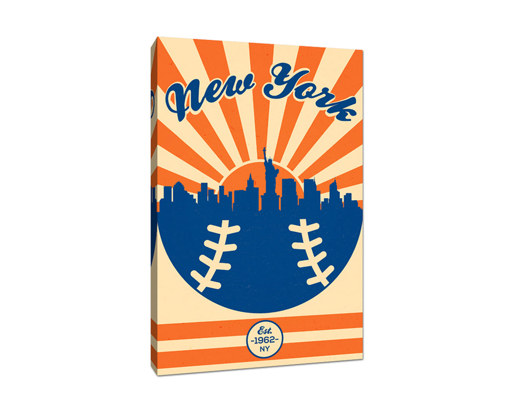 New York - Vintage Baseball - Canvas Wall Art