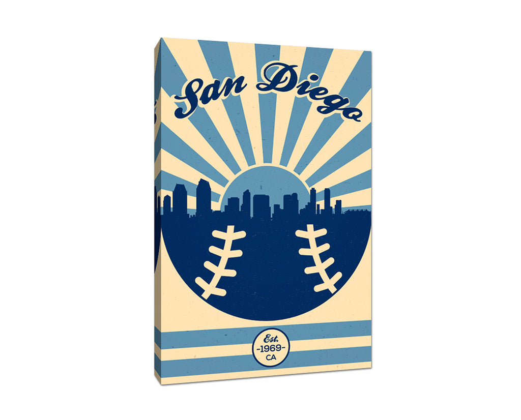 San Diego - Vintage Baseball - Canvas Wall Art