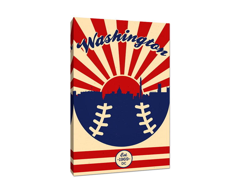 Washington - Vintage Baseball - Canvas Wall Art
