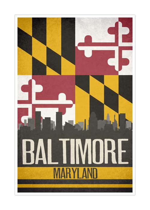 Baltimore State Flag Skylines Matte Poster