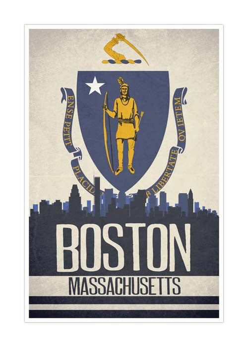 Boston State Flag Skylines Matte Poster