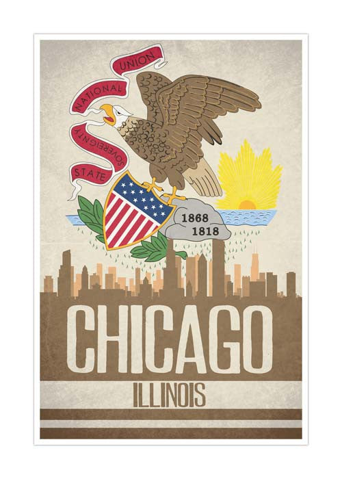 Chicago State Flag Skylines Matte Poster