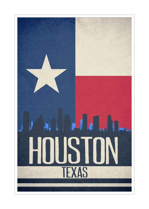 Houston State Flag Skylines Matte Poster