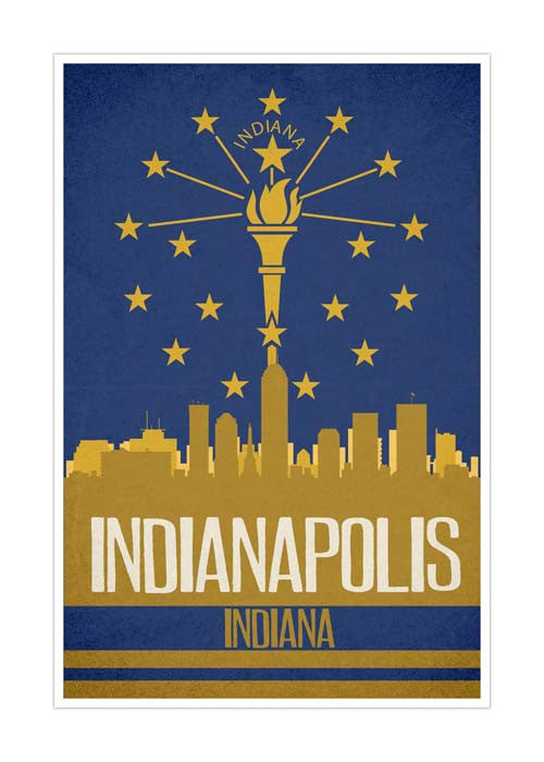 Indianapolis State Flag Skylines Matte Poster