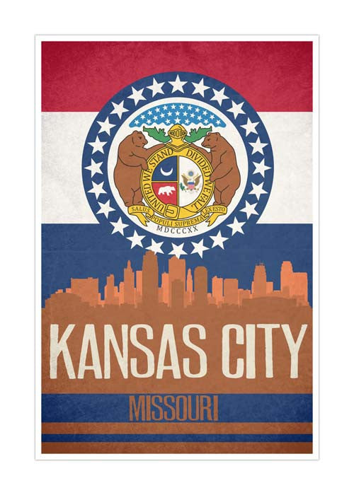 Kansas City State Flag Skylines Matte Poster
