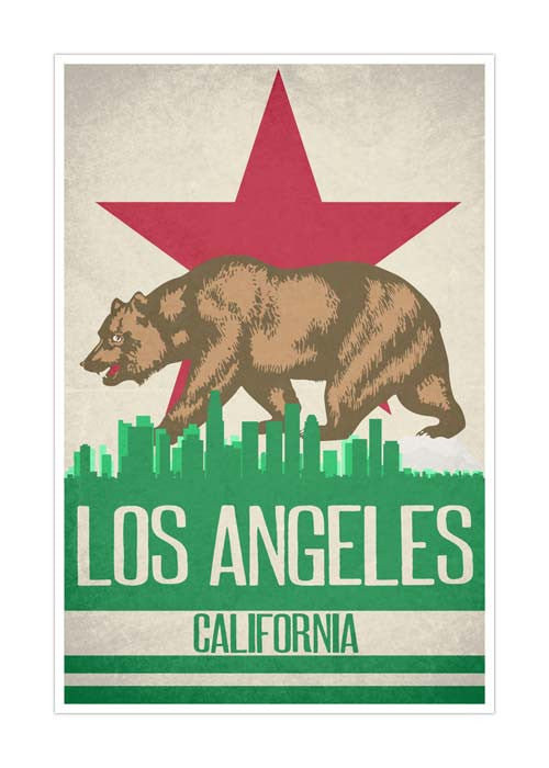 Los Angeles State Flag Skylines Matte Poster