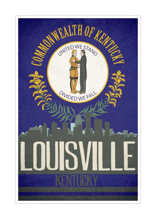 Louisville State Flag Skylines Matte Poster