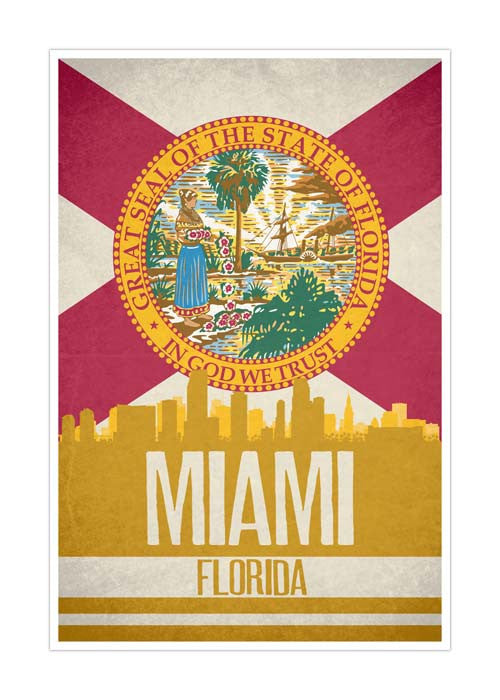 Miami State Flag Skylines Matte Poster