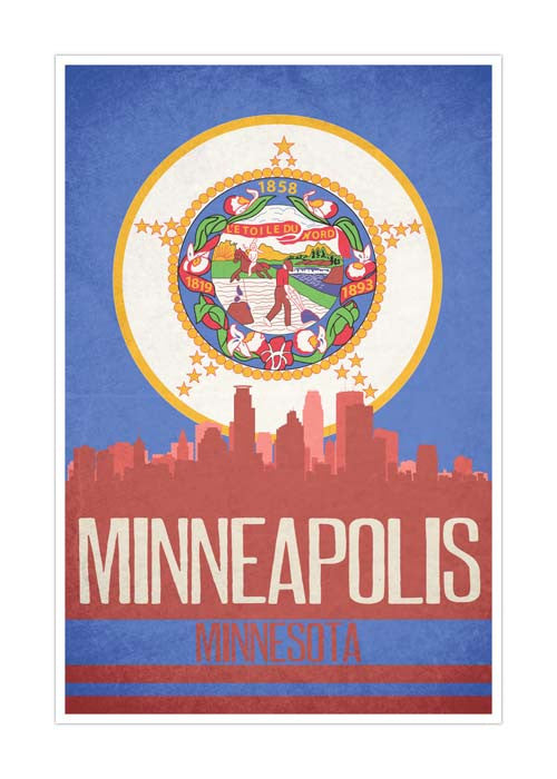 Minneapolis State Flag Skylines Matte Poster