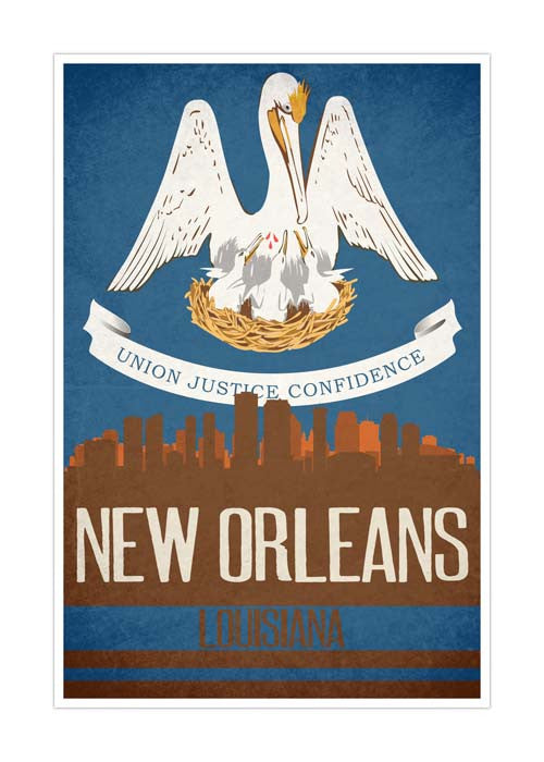 New Orleans State Flag Skylines Matte Poster