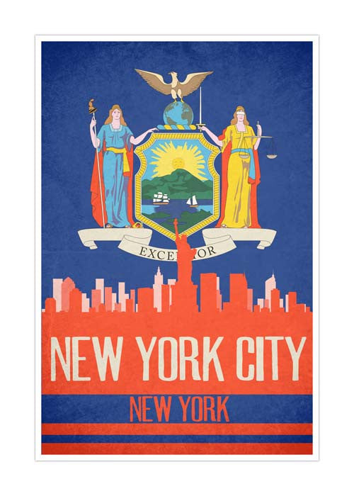 New York State Flag Skylines Matte Poster