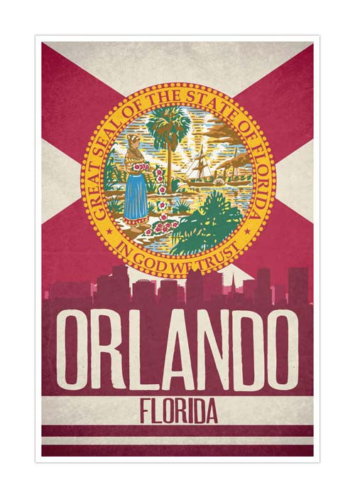 Orlando State Flag Skylines Matte Poster