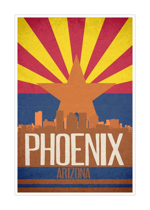 Phoenix State Flag Skylines Matte Poster