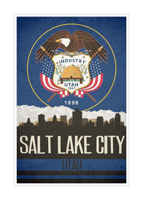 Salt Lake City State Flag Skylines Matte Poster