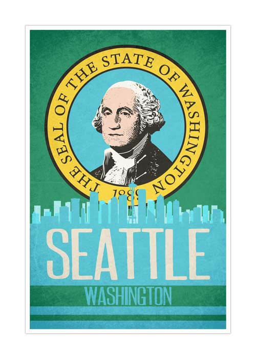 Seattle State Flag Skylines Matte Poster